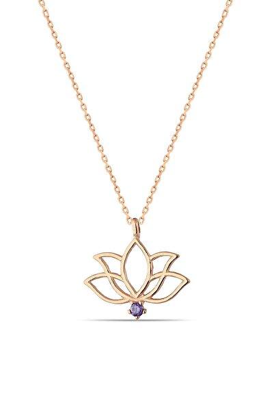 Herisson Silver Kadın 925 Ayar Gümüş Zirkon Mor Taşlı Lotus Kolye