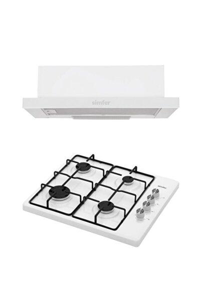 Simfer Beyaz Eko Ikili Set Üstü Set (8505 Aspiratör + 3010 Set Üstü Ocak)
