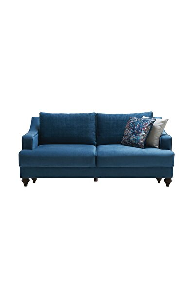 Enza Home Simena Koyu Mavi 2'li Yataklı Koltuk - Kadife Kumaş