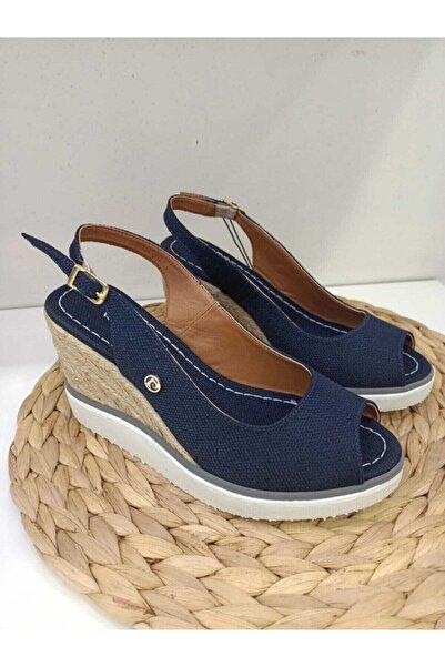 Pierre Cardin Kadın Lacivert Hasır Dolgu Topuklu Sandalet
