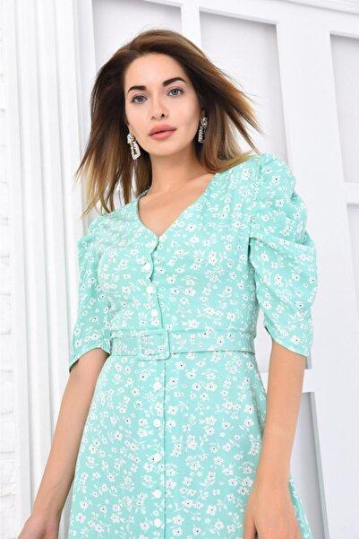 MODAGİLSHOP Kadın Yeşil Kemer Detaylı Uzun Elbise