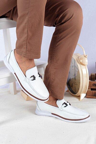 Buffalo Erkek Beyaz  Toka Detaylı Loafer Ayakkabı