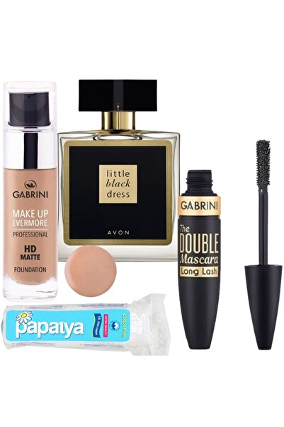Gabrini Hd Matte Fondöten 02 + Double Maskara Long Lash + Little Black Dress Edp 50 ml Kadın Parfüm