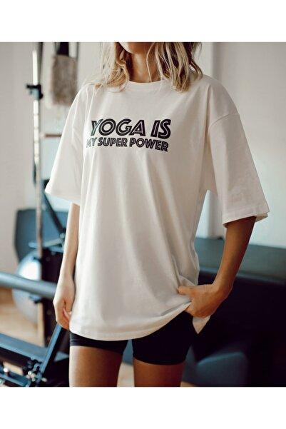 Soul True Kadın Beyaz %100 Pamuk Bisiklet Yaka Oversize Boyfriend Yarım Kollu Yoga T-shirt