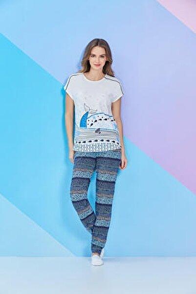 Krem Kısa Kollu Bayan Pijama Takımı - 8103