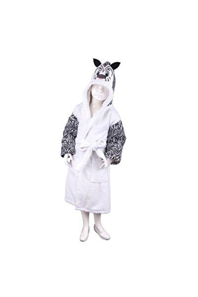 Minteks Çocuk Beyaz Zebra Desen Bornoz