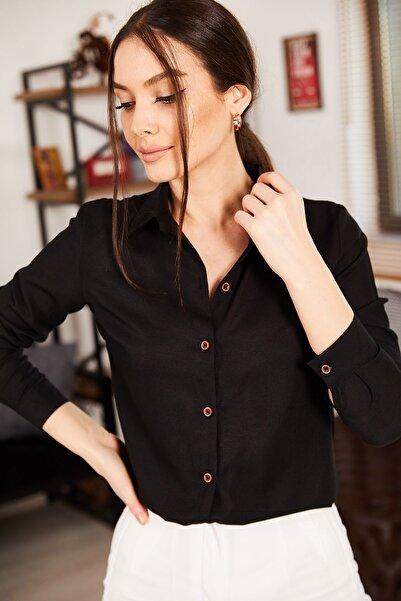 armonika Kadın Siyah Uzun Kollu Düz Gömlek ARM-18Y001176