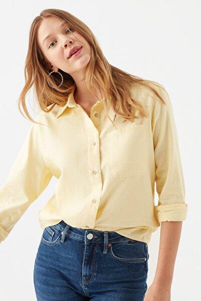 Mavi Tek Cepli Sarı Gömlek