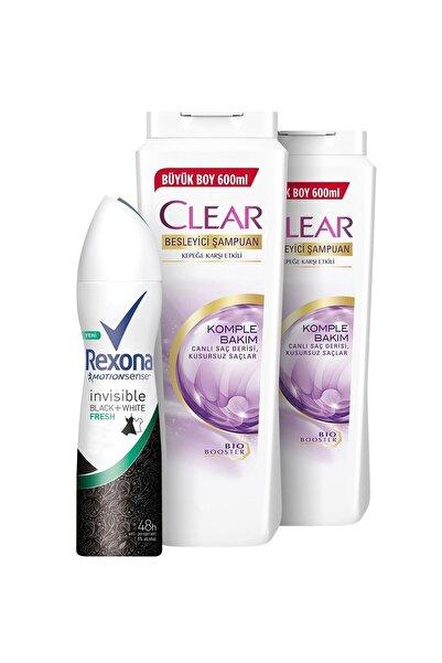 Clear Komple Bakım Şampuan 600 ml x2 + Rexona Invisible Black & White Fresh Sprey Deodorant 150 ml