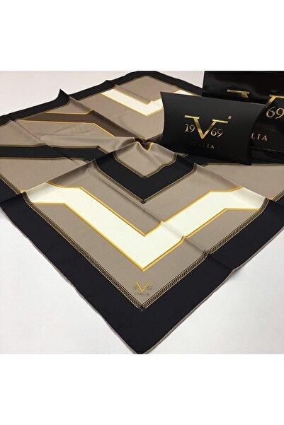 19V69 ITALIA Siyah Açık Vizon Beyaz Twill Eşarp Black Seri 90x90 Cm