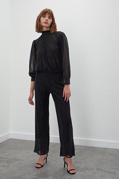 JOIN US Simli Astarlı Beli Lastikli Triko Pantolon - Siyah
