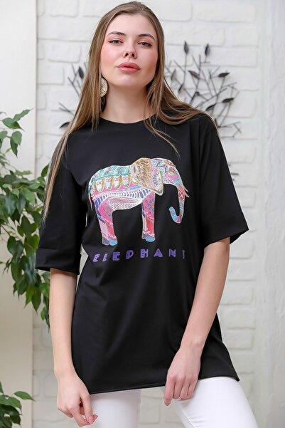 Chiccy Kadın Siyah Pullu Fil Baskılı Yanı Yırtmaçlı Bohem T-Tshirt M10010300TS98371