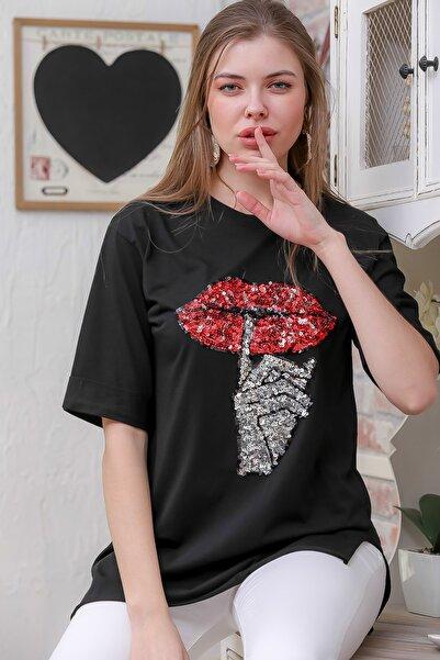 Chiccy Kadın Siyah Pul Payetli Dudak Baskılı Yanı Yırtmaçlı T-Tshirt M10010300TS98365