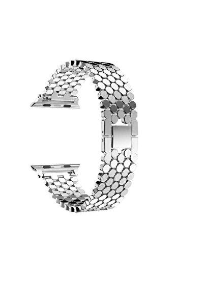 zore Watch 4 Uyumlu 40 mm Mıklatıslı Bal Peteği Metal Tasarım Akıllı Saat Kordon