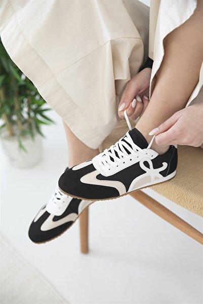 STRASWANS Kadın Deri Spor Ayakkabı Siyah-Bej