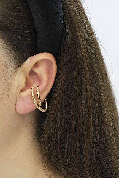 Marjin Kadın Altın Renkli Yay Model Çapraz Halka Tasarım Kıkırdak Küpealtın