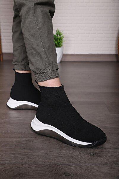 Ayakkabı Kozası Kadın Siyah Triko Günlük Spor Ayakkabı Streç Çorap Sneaker