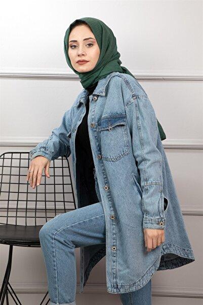 lamelif store Kadın Mavi Uzun Kot Ceket 2111