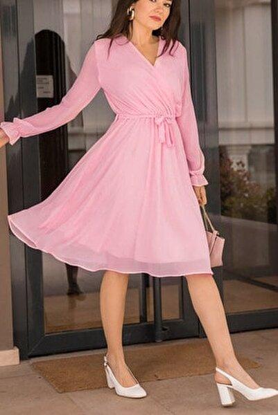 Kadın Pudra Kruvaze Yaka Şifon Elbise Boy 100 cm