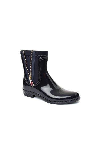 Tommy Hilfiger Kadın Siyah Materıal Mıx Yağmur Botu FW0FW03562