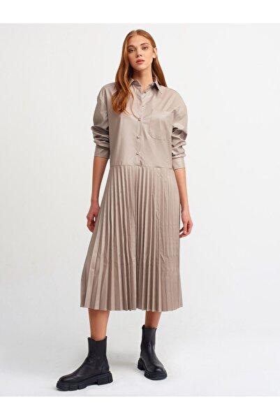 Dilvin Kadın  Pilise Detaylı Gömlek Elbise-vizon 9078