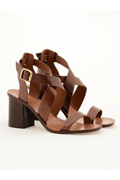 Nursace Kadın Kahverengi Klasik Topuklu Ayakkabı