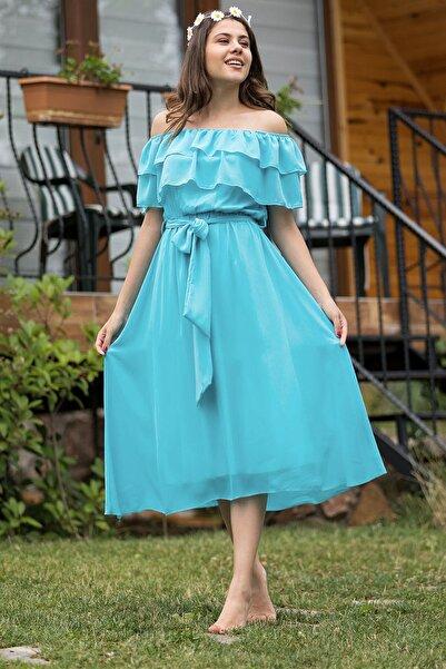 Elbise Delisi Kadın Madonna Fırfır Yaka Bebek Mavisi Büyük Beden Şifon Elbise