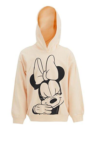 DeFacto Kız Çocuk Minnie Mouse Lisanslı Kapüşonlu Sweatshirt