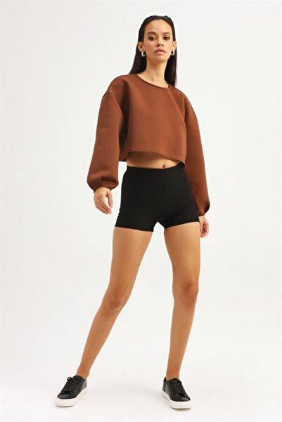 Quzu Kadın Kahverengi Crop Sweatshirt
