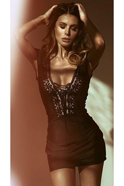CULOTTE Kadın Siyah Dantel Yaka Süper Mini Elbise