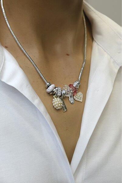 Marjin Kadın Pembe Taşlı Böğürtlen&kalp Figürlü Gümüş Renkli Kolyepembe