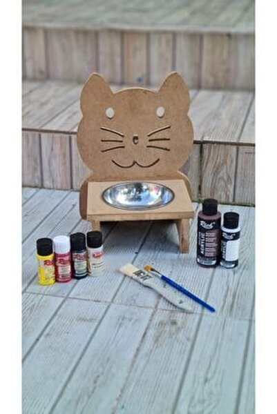 Ahşap Kedi Mama Kabı Boyama Seti ( Akrilik Boyalar, Vernik Ve Fırçalar )