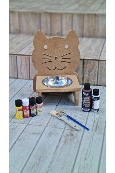 Rich Ahşap Kedi Mama Kabı Boyama Seti ( Akrilik Boyalar, Vernik Ve Fırçalar )
