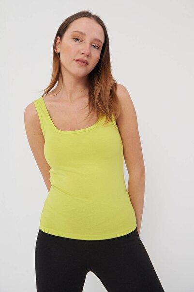 Addax Kadın Fıstık Yeşil U Yaka Atlet A0883 - F5 ADX-0000021994