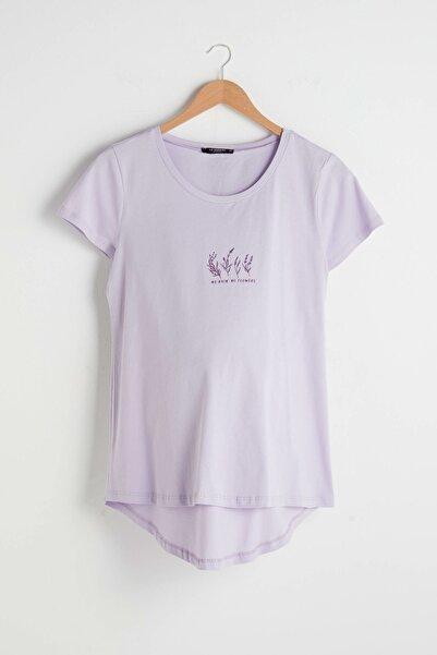 LC Waikiki Kadın Lila Maternity Tişört