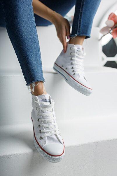 MUGGO Unisex Beyaz Keten Ayakkabı Mgcrs37