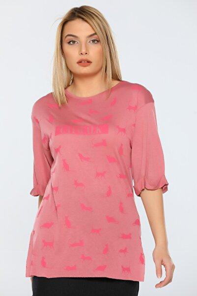 julude Kadın Catwalk Baskılı Yarım Kol Katlamalı Tunik T-shirt