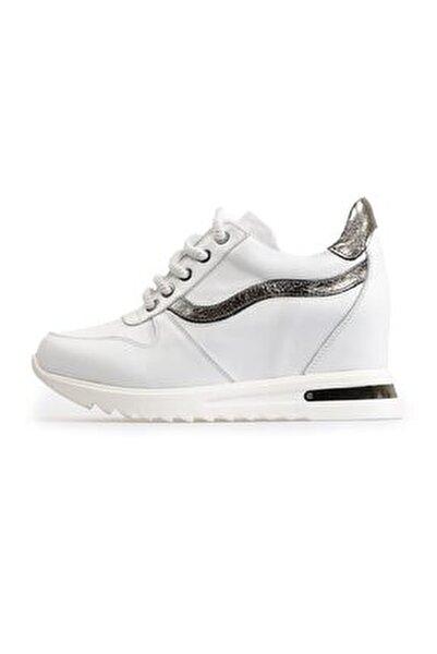 Beyaz Dolgu Topuklu Spor Ayakkabı