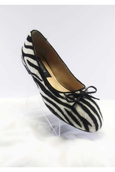 EXCLUSIVE Kadın Hakiki Deri Zebra Desenli Günlük Babet