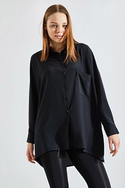 Zafoni Kadın Siyah Cepli Oversize Gömlek