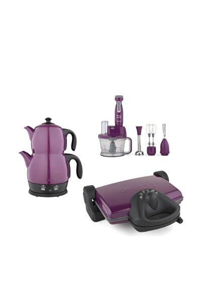 King Eflatun Ev Aleti Çeyiz Seti 3Lü (Çay, Tost Makinesi Ve Blender Seti) Eflatun