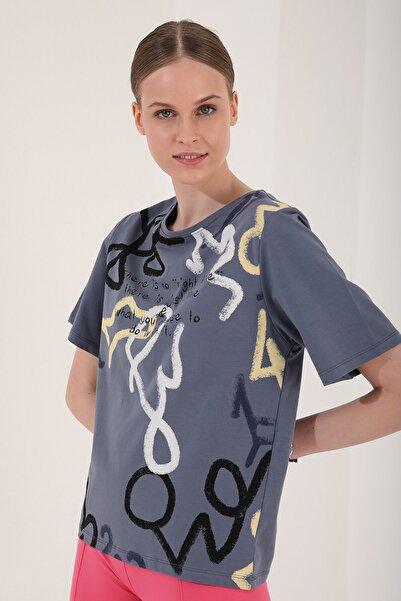 Tommy Life Kadın Petrol  Karışık Desenli Yazı Baskılı Oversize O Yaka Tshirt