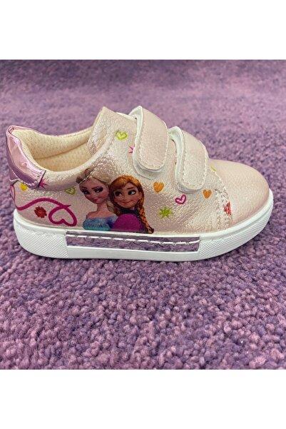 Minican Kız Çocuk Pembe Frozen Elsalı Ayna Detaylı Tam Ortopedik Bantlı Spor Ayakkabı