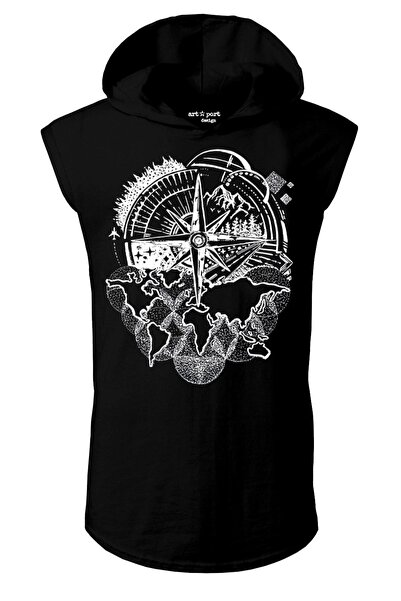 Artaport Design Unisex Siyah Pusula Tasarım Kapşonlu Kolsuz T-shirt