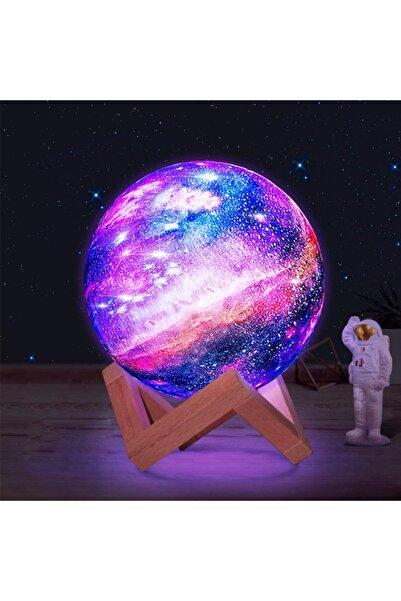 REWEL 3d Ahşap Standlı 7 Renk Değiştiren Orta Boy Galaksi Gezegen Gece Lambası Ay-gezegen Galaxy