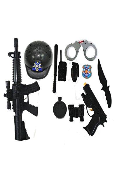 BEYAZ Büyük Boy Kasklı Polis Seti Oyuncak Silah Tüfek Kelepçe Dürbün