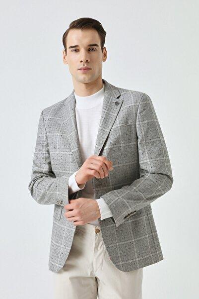Damat Erkek Gri Slim Fit Gri Desenli Kumaş Ceket