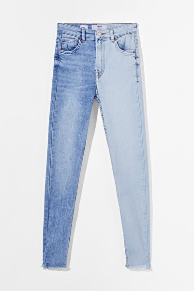 Bershka Kadın Lacivert Kontrast Yüksek Bel Skinny Fit Jean