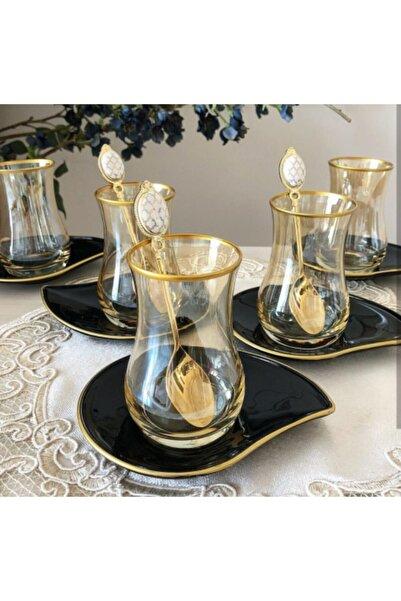 DiamondCrystal Eva Siyah Tabaklı Bal Altın 12 Parça Çay Seti