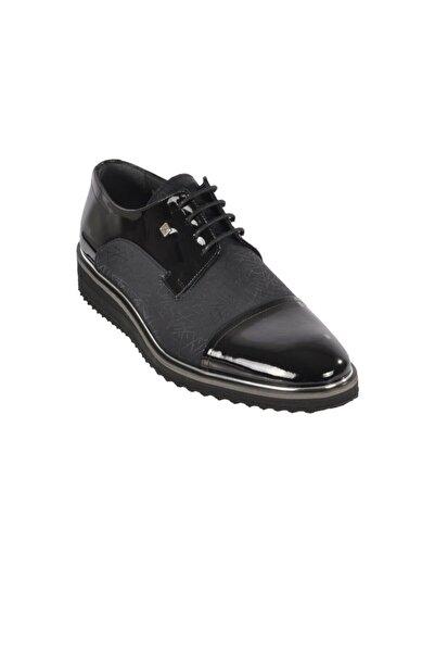 Fosco 9010 Siyah Rugan Erkek Hakiki Deri Klasik Ayakkabı